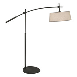 Robert Abbey - Rico Espinet Miles Floor Lamp - The gently curving arm of this metal floor lamp will create such a lovely angle in your sitting room, and provide the perfect lighting for reading in your favorite armchair. The elegant linen shade lets off a round, warm glow.