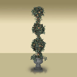 Balsam Hill - Set of 2 BH Potted Ivy Three-Ball Artificial Topiary Tree - Clear - Decorate your home with a couple of Potted Artificial Ivy Globe Topiary Tree. This set comes with two 5 feet topiary tree, glistening with clear lights. Balsam Hill�s mission is to create the world�s most beautiful and realistic artificial Christmas trees.� We are committed to providing our customers with a picture-perfect holiday.� With innovations like hinged branches and options like remote-controlled pre-strung lights, our luxurious trees will let you sit back and enjoy Christmas to the fullest, this year and for years to come.� Balsam Hill�s trees have won awards for their realism and have been featured in movies, television shows, and celebrity homes; you and your guests may not believe that your gorgeous Balsam Hill Christmas tree is artificial.� Our wide range of styles and sizes ensures you will be able to find a tree that fits perfectly in your home.� We also have a range of beautiful wreaths and garlands to put the finishing touches on your home this holiday season.