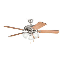 """BUILDER FANS - BUILDER FANS Sutter Place Premier 52"""" Transitional Ceiling Fan X-PA004933 - A traditional style with contemporary finishes gives this Kichler Lighting ceiling fan a modern look. From the Sutter Place Collection, it blends an Antique Pewter finish with reversible cherry blades and three satin etched glass shades for a clean, modern look."""