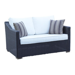 WickerParadise - Patio Wicker Outdoor Loveseat Portofino - Black Forest - When the sun is shining, there's nothing like reading a book or having a glass of ice tea outside. Put your feet up and unwind on this comfortable love seat that is perfect as part of a set or alone in a smaller space.