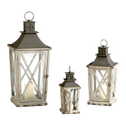 Kathy Kuo Home - Set of 3 Cornwall Rustic Weathered Wood Metal Candle Lanterns - English country charm comes to life in this rustic trio of candle lanterns.  Details like polished door latches, double tiered ventilation roofs and riveted edges express the dedication to craft and tradition found in collectible pieces such as these.