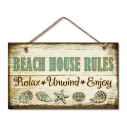 Handcrafted Nautical Decor - Wooden Beach House Rules Sign 10'' - Our  Wooden Beach House Rules Sign 10'' is the perfect choice to display  your affinity for decorating a beach house. Place this sign in a beach  kitchen, use as a coastal decorating idea, or hang this up as part of  your beach bedroom decor. Given all the options, one thing is for  certain, you are sure to inject the beach lifestyle into your humble  abode.------    Easily mountable to hang outside or inside--    Made from high quality woods--    Sign says ''Beach House Rules'and displays a starfish and seashells--
