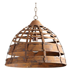 "Cyan Design - Industrial Palmetta 18"" Wide Rustic Pendant - This unique iron pendant light with rustic finish would be the perfect accent to an open kitchen/dining floor plan.  Pair this beautifully woven rustic iron piece with cool white linen or a metal topped island for a modern farmhouse feel. Iron construction. Rustic finish. One maximum 60 watt or equivalent candelabra bulb (not included). Includes 8 feet cord 8 feet chain and 8 feet of lead wire. 18"" wide. 15"" high. Canopy is 4 1/4"" wide 7 1/2"" high.  Iron construction.  Rustic finish.  One maximum 60 watt or equivalent candelabra bulb (not included).  Includes 8 feet cord 8 feet chain and 8 feet of lead wire.  18"" wide.  15"" high.  Canopy is 4 1/4"" wide 7 1/2"" high."