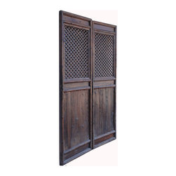 Golden Lotus - Tall Pair Chinese Antique Geometry Pattern Hand Carving Screen Wall Panel - This is a pair of Chinese antique door panels which is made of solid elm wood.  It was used as door long time ago in China, right now, people use it for wall screen deco.