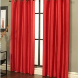 Sherry Kline - Sherry Kline Faux Silk Grommet Top 84-Inch Window Curtain Panels (Set of 2) - These elegant, faux silk window curtain panels come in a variety of solid colors and quickly add a touch of class to any room. The panels easily hang with stylish, metal grommets that match the panels' color.