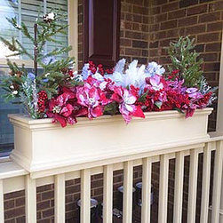 Rail Top Planters - The Charleston rail top planter is designed to slip over the top of wooden rails of either a 2x4 or 2x6 size.  It is made from solid PVC material called Versatex which offers many advantages over wood including: