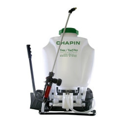 "Chapin - Tree Turf Commercial Backpack Sprayer 4 Gallon - Tree Turf Commercial Sprayer. 4 Gallons. Stainless Steel wand. 4 "" large diameter opening. Stainer filler basket. Removable in tank filter. Includes 21psi CF Valve. Cushion grip spray handle with pressure gauge. Adjustable padded shoulder straps with lumbar support strap. Brass fan poly pan and cone nozzles. Adjustable pressure control valve. Right and left hand use. 4 gallon true capacity. Piston pump."