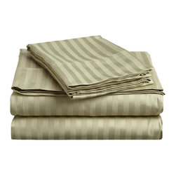 400 Thread Count Egyptian Cotton Full Sage Stripe Sheet Set - 400 Thread Count Egyptian Cotton Full Sage Stripe Sheet Set