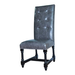 Crestview - Crestview CVFZR898 Camden Grey Leather Side Chair w/ Nailhead Trim - Camden Grey Leather Side Chair w/ Nailhead Trim Camden Grey Leather Side Chair w/ Nailhead Trim 20*25*46 Accent Chair   20*25*46