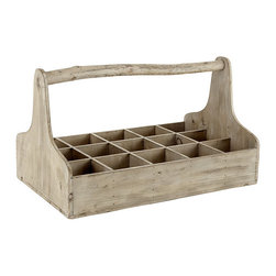 Multipurpose Wooden Box - I'm a sucker for rustic wood and individual compartments. And it would coordinate beautifully with my whitewashed stands. Traditionally, wooden crates like this were used to cart around tools for the garden or for repairs. But I can think of a variety of uses for this crate. Candles, condiments, drinks...