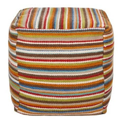 Surya 18 in. Cube Wool and Cotton Pouf - Venetian Red - Show your true stripes with the Surya 18 in. Cube Wool and Cotton Pouf – Venetian Red, a contemporary pouf ottoman that will enliven any room with its craftsmanship and color. Made in India from an 80% wool/20% cotton blend, this comfy cube's rainbow palette is rooted in a rich hue we call Venetian red.About SuryaSince 1976 Surya has established itself as one of India's leading producers of fine rugs and home goods. Their products are sold in the U.S.A. at respected department and specialty stores. The company is known for its quality, value, dedication, and innovation. This includes responsibility for the entire process of creating home decor - spinning, dyeing, weaving, and finishing. Surya prides itself on using the best raw material available for the production of their rugs, throws, and decor items. They are proud members of Wools of New Zealand. From design concept through production, a Surya family member is involved, making sure that the highest standards are being met at each level. Surya works with top designers and constantly updates their designs and color palettes to match and set the trends in design and fashion for the home. Surya always means a fine choice.
