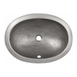 The Copper Factory - Copper Factory Hammered Copper Oval Undermount Lavatory Sink SatNickel - Copper Factory Hammered Copper Oval Undermount Lavatory Sink SatNickel