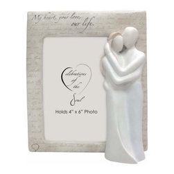 "WL - Couples 4 x 6"" Photo Frame Inscribed ""My heart, your love, our life."" - This gorgeous Couples 4 x 6"" Photo Frame Inscribed ""My heart, your love, our life."" has the finest details and highest quality you will find anywhere! Couples 4 x 6"" Photo Frame Inscribed ""My heart, your love, our life."" is truly remarkable."
