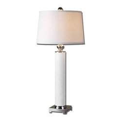 Uttermost - White Glass And Polished Nickel Avilius Table Lamp With Round Shade - White Glass And Polished Nickel Avilius Table Lamp With Round Shade