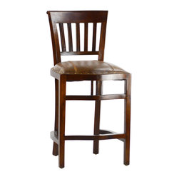 Dovetail Furniture - Triple Counter Stool - Hand made in hardwood frame with dark brown sealed finish.  Leather with stitch detailing and accented with antiqued brass nailheads.