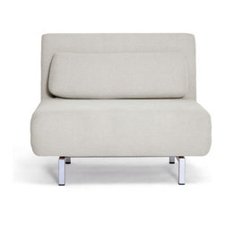 Cloud Convertible Chair in Gray - The trick to making a loft work hard for its city-dwelling inhabitants is filling the space with versatile, multi-use furniture. Case in point: the Cloud Convertible Chair. In addition to being a comfortable chair, this piece also transforms into a chaise lounge or bed.  Additionally, the chair has a six-position adjustable locking back, with the angle ranging from 90 to 180 degrees. Compact and innovative, this convertible chair is a must-have in any loft space.