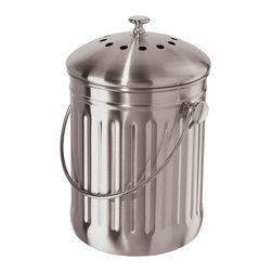 Bambeco Stainless Steel Compost Bin - Composting has never been so easy—or so stylish—with our Stainless Steel Compost Bin. Ideal for kitchen countertops, it's perfect for cooking waste and table scraps. A secure lid and replaceable, odor-fighting charcoal filter keep household composting fresh and simple.Dimensions: 7W x 11.5H.