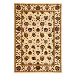 "Cambridge 7347 Ivory Tabriz Rug - Cambridge 7347 Ivory Tabriz 20"" x 31"". Machine-Made of 100% Heat-set Polypropelene with No Backing. Made in China. Vacuum regularly & spot clean stains. Professional cleaning recommended periodically."