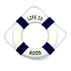 """Handcrafted Model Ships - Life Is Good Life Ring 12"""" - Decorative Life Ring - The Life Is Good Life Ring 12"""" is the perfect nautical accent to add to your home, office, or pool area. Blue canvas straps accent the white lifering, and will make guests and family feel at home and comfortable. Lightweight styrofoam construction makes the 12"""" lifering easy to hang anywhere so you can bring that nautical ocean feel into the comfort of your own home, office, nautical clubhouse, or pool house."""