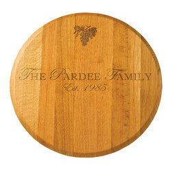 """Frontgate - Personalized Oak Lazy Susan - Handmade with 100% American oak wood. Personalize with a family name, up to 15 uppercase characters, and a four-number year. Finished with a durable polyurethane seal. Clean with hot soapy water and dry thoroughly; do not submerge in water or place in dishwasher. Serve a little history at your next wine party or cheese tasting. Wine barrel coopers craft each Personalized Oak Lazy Susan from an actual American oak wine barrel head – creating a beautiful 22"""" dia. serving surface appropriate for a dining room or bar area. Personalize it with your family name and a special date. .  .  .  . Made in the USA."""