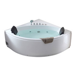 EAGO - EAGO AM200 5' Rounded Modern Double Seat Corner Whirlpool Bath Tub with Fix - We are very excited to offer you this breath taking AM200 EAGO whirlpool bath tub! The design has changed the concept of bathtubs to something like a 'pool' and makes you feel so close and intimate with water. It will release your natural deep desire for the basic element of life; H2O.This tub features a beautiful design which will add the finishing touches to any bathroom. We are confident that you will indulge in a state of complete relaxation and tranquility with all the features that this tub has to offer. Be prepared to purchase luxury at its finest!