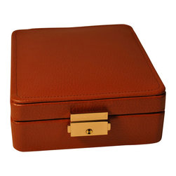 Budd Leather - Leather 15 Section Ring/Earring Box, Tan - Leather 15 Section Ring/Earring Box, Tan