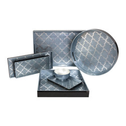 Belle & June - Arabesque Blue/Silver Trays - These exquisite blue and silver, heavily lacquered trays can do more than just serve drinks and appetizers. Use them to organize jewelry or put on in the bath for your makeup brushes. As a tray in your bedroom, they will set off your pretty perfume vials. On an ottoman they become the perfect organizer for scented candles and decorating magazines.