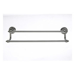 "Top Knobs - Tuscany Bath 18"" Double Towel Rod - Brushed Satin Nickel - Length - 20 1/2"", Projection - 6 3/8"", Center to Center - 18"", Bar Stock Diameter - 5/8"" Base Diameter - 2 1/2"" w (x) 2 1/2"" h"