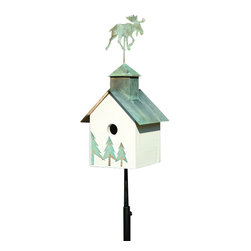 Heartwood - Sleepy Hollow Bird House Loose Moose - This  beautiful  birdhouse  is  the  perfect  addition  to  any  home  or  garden  of  your  choice.  A  copper  roof  with  your  choice  of  verdigris  critter  and  coordinating  front  adornment  are  the  perfect  pieces  to  accent  this  home.  It  is  sure  to  please  all  family,  guests  and  visitors.  This  bird  house  is  one  you  are  sure  to  enjoy  in  the  years  to  come.  Available  in  different  designs.                  8x9x19              1-1/2  hole              Available  designs  include  loose  moose,  big  dog,  horse,  pig,  angel,  rooster  and  bear              Handcrafted  in  USA  from  renewable,  FSC  certified  wood