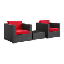 East End Imports - Burrow 3 Piece Patio Sectional Set in Espresso Red - Enter your personal zone for two with the Burrow outdoor rattan patio set. Easily interchangeable to match the finer needs of your gatherings, Burrow delivers a confidential sphere for both business meetings or personal get-togethers. A tempered glass topped table is perfectly sized for electronic devices or fine dining for two.
