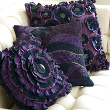 Decorative Pillows Ruffled Purple Pillows