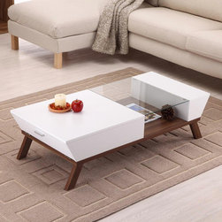 Hokku Designs Braxton Coffee Table, White - I love the mixture of white and wood with the additional sunken glass level. It's useful, interesting and unique.