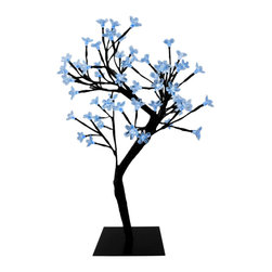 Zeckos - 64 LED Light Cherry Blossom Tree Table Decor Blue LEDs - This 18 inch tall cherry blossom tree decor piece contains 64 individual blue LED lights for a dazzling light display. Each light is installed on its own trig, and the twigs are flexible, so you can arrange them in hundreds of different ways While the branch is 38 inches long assembled, the lights start at about the 18 inch mark so you won't waste any light in your container. It comes with a 10 foot long power cord, and clear plastic flower shaped caps for each of the LED lights.