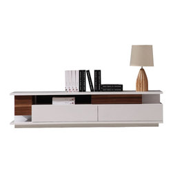 J&M Furniture - Modern TV061 TV Stand in White High Gloss/ Walnut - The Modern TV061 TV Stand by M Furniture features clean lines, a uniquely gloss finish, and plenty of media space. This TV Center contains two large drawers with soft-closing mechanisms, as well as media compartment, ready for your cable box, DVD player, or video game. Made of 100% MDF.