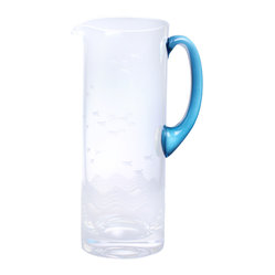 Seabreeze Pitcher with Blue Handle