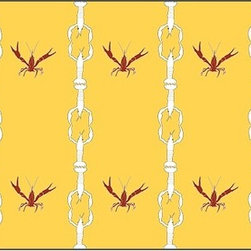 Casart coverings - Crawfish Cotillion, White/Red/Yellow Wallcoverings, White/Red/Yellow, Backsplash - Our Crawfish Cotillion is original artwork that was created to bring awareness to ongoing Gulf Coast recovery efforts. The design is classical with a coastal and concealed twist. At first you might not notice our dancing crawfish but they are happy because their Gulf Coast shores are starting to come back strong.