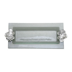 Arthur Court - Grape Glass Oblong Tray - Simply elegant is the only way to describe this serving tray. You can use it for serving an array of cheeses, fruits or appetizers. The pressed glass is slightly opaque, set off by richly detailed grape cast aluminum handles. It can be refrigerated or put in a warm oven to keep your cold food cold and your hot food hot.
