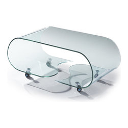 MODERN BENT GLASS COFFEE TABLE ON CASTERS MORGAN -