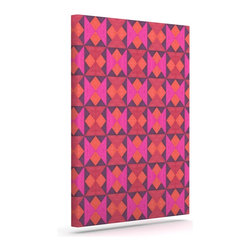 """Kess InHouse - Empire Ruhl """"A Quilt Pattern"""" Pink Red Wrapped Art Canvas (8"""" x 10"""") - Bring your outdoor patio to life with this artistic outdoor canvas wrap featuring gorgeous artwork by KESS InHouse. These canvases are not only easy to hang and remove but also are the perfect addition to your patio collection. These canvases are stretched around a wooden frame and are built to withstand the elements and still look artistically fabulous. Decorating your patio and walls with these prints will add the splash of art and color that is needed to bring your patio collection together! With so many size options and artwork to choose from, there is no way to go wrong with these KESS Canvas Wraps!"""