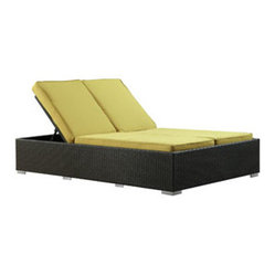 Evince Two-Seater Outdoor Wicker Patio Chaise Recliner in Espresso