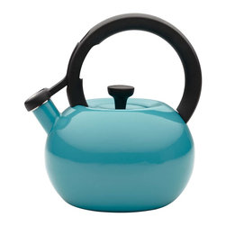 Circulon - Circulon Circles 2 Quart Steel Teakettle, Capri Turquoise - Great performance and style have been Circulon features for over 25 years, and this Circulon 2-Quart Circles Teakettle offers that and more in a bright, essential kitchen accessory that will heat up to 8 cups of water. The teakettle capacity is generous enough for a medium to large tea or coffee press, while its modern shape and captivating color options add contemporary design to everyday use or that heirloom coffee service or cocoa pot. A whistle melodically sounds when water reaches a boil, and the flip-up spouts lever is right at the fingertip for ease of use. The teakettle complements the great form and function of other Circulon cookware for even more kitchen and tabletop style.