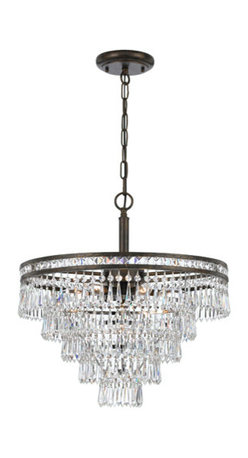 Crystorama Lighting Group - Mercer English Bronze Six Light Hand Cut Crystal Chandelier - - Our Mercer collection has all the angles covered. It is stunning no matter how you look at it. The metal work is as beautiful as the waterfall of crystal beads and faceted jewels that adorn it. From below, the metal forms a floral design, like something you might see in a stained glass window  - Crystorama fixtures combine high-style design with premium materials and manufacturing techniques  - Chain or Rod Length: 72 Inch  - Wire Length: 120 Inch Crystorama Lighting Group - 5264-EB-CL-MWP