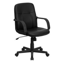 Flash Furniture - Flash Furniture Mid-Back Black Glove Vinyl Executive Office Chair - Very affordable computer chair that will provide you with the right amount of comfort needed for browsing the internet and completing work related tasks. Chair provides passive ergonomic seating with built-in lumbar support. The mid-back design makes it a perfect desk chair especially for smaller work spaces, but still doesn't compromise on its appeal and features.