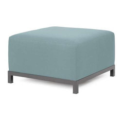 Howard Elliott Sterling Breeze Axis Ottoman - Titanium Frame - At the Height of Fashion! Lounge in style on Sterling Axis Ottomans. Float the Sterling Axis ottoman on its own or pair it up with additional chair, corner or ottoman pieces. The steel frame is available in 2 finishes allowing you to choose a frame to best compliment your color. This chair features boxed cushions with Velcro attachments to keep the cushions from slipping and looking their best all of the time. Your Sterling Axis ottoman will definitely turn heads with its sophisticated linen-like texture and vibrant color selection.