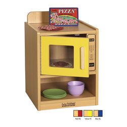 Ecr4kids - Ecr4Kids Colorful Essentials Home Kids Pretend Play Kitchen Microwave Set Blue - A charming, laminate play microwave built to endure endless hours of play. rounded edges for safety and style, easy to reach shelves with plenty of room for storage of your favorite toy foods and dishes, and magnetic latches and full-length continuous piano hinges. Encourages dramatic play and social interaction in the classroom or home. Available in an easy-to-clean warm maple laminate and coordinating edgebanding with primary colored sides that match all items in the Colorful Essentials product line.