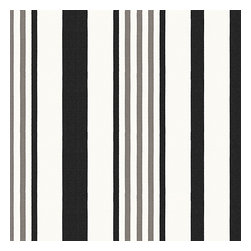 Black, Grey & White Stripe Outdoor Fabric - White, black & gray outdoor stripe that's just hankering for those wide open spaces. Recover your chair. Upholster a wall. Create a framed piece of art. Sew your own home accent. Whatever your decorating project, Loom's gorgeous, designer fabrics by the yard are up to the challenge!
