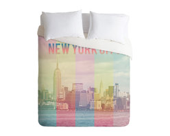 DENY Designs - Catherine McDonald New York City Duvet Cover - Turn your basic, boring down comforter into the super stylish focal point of your bedroom. Our Luxe Duvet is made from a heavy-weight luxurious woven polyester with a 50% cotton/50% polyester cream bottom. It also includes a hidden zipper with interior corner ties to secure your comforter. it's comfy, fade-resistant, and custom printed for each and every customer.