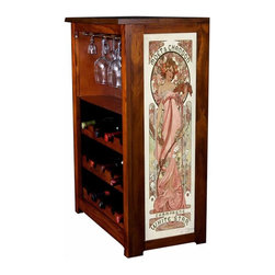 Kelseys Collection - Wine Cabinet 15 bottle Moet et Chandon by Mucha - Wine Cabinet stores fifteen wine bottles and glassware with famous artwork by Alphonse Mucha giclee-printed on canvas side panels  The frame, top, and racks are solid New Zealand radiata pine with a hand stained and hand rubbed medium reddish brown finish, which is then protected with a lacquer coat and top coat. The art is giclee printed on canvas with three coats of UV inhibitor to protect against sunlight, extending the life of the art. The canvas is then glued onto panels and inserted into the frames.