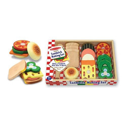 "Melissa & Doug - Melissa and Doug Sandwich-Making Set Multicolor - 513 - Shop for Cooking and Housekeeping from Hayneedle.com! This set is crafted from wood to ensure that it stands up to the wear and tear of child's play. It comes complete with 16 pieces and includes everything from bread and buns to veggies and cheese. Each item is sliceable and makes a realistic crunching sound when cut with the included wooden knife. Tons of fun for everyone! About Melissa & Doug ToysSince 1988 Melissa & Doug have grown into a beloved children's product company. They're known for their quality educational toys and items and have grown in double digits annually. The Melissa & Doug company has been named Vendor of the Year by such great retailers as FAO Schwarz Toys R Us and Learning Express and their toys have been honored as ""Toys of the Year"" by Child Magazine FamilyFun Magazine and Parenting Magazine. Melissa & Doug - caring quality children's products."