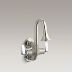 KOHLER - KOHLER Cannock(TM) double lever handle wash sink faucet - Sturdy, reliable and intended for heavy use, the Cannock wash sink faucet features solid brass construction and adjustable flanges. The lever handles on this model meet ADA requirements, adding to its commercial utility.